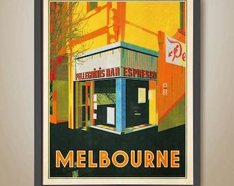 Melbourne Café Poster. Coffee Poster. Melbourne Coffee. Coffee Art. Melbourne Art. Melbourne Print.