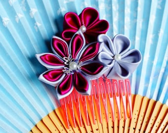 Magenta/Gray kanzashi haircomb accessory
