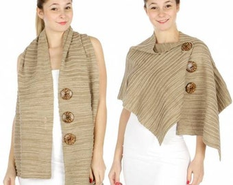 Coconut Button Knit Wrap