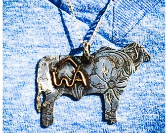 Breed specific sterling silver pendant with cattle brand, statement necklace