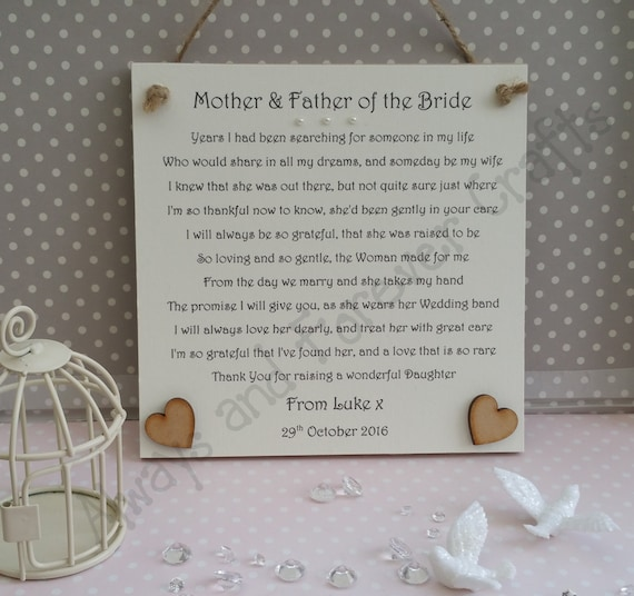 Father Of The Bride Wedding Gifts: Mother And Father Of The Bride Gift From Groom By AandFCrafts