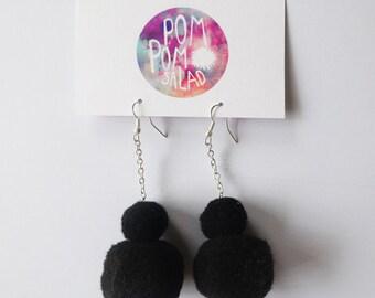 Double Black Pom Poms Dangle Earrings