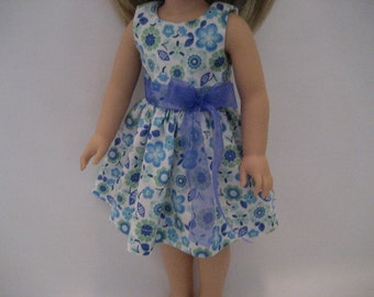 14.5 Inch Doll Clothes - Blue Blossoms Dress made tp fit dolls such as the Wellie Wishers doll clothes