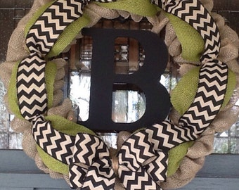Burlap Wreath, Chevron Wreath, Monogrammed Burlap Wreath, Summer Wreath, Spring Wreath