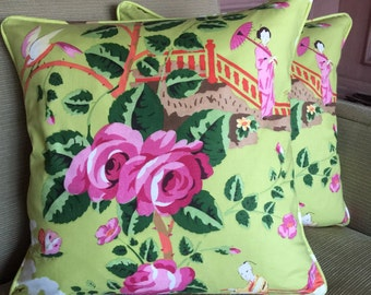 SCALAMANDRE 'China Rose' Fabric Pillow,  Down Filled, Green