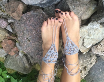 gray linen Barefoot Sandals women barefoot Crochet barefoot sandals Bridesmaids Foot accessory Beach sandals  Lace shoes Yoga Anklet