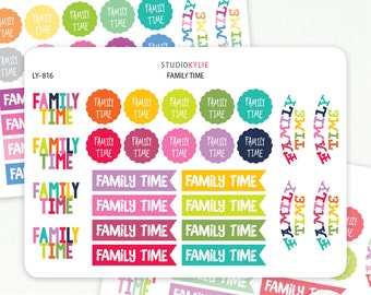 Family Time - Planner Stickers For All Planners And Diaries - Repositionable Matte Vinyl