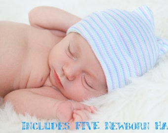 FIVE Newborn Hospital Hats - Includes FIVE Baby Beanies & 2 Pairs of Mittens. (Baby boy, baby girl, baby hospital hats, newborn hats)