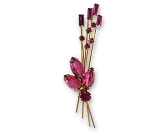 Pink Rhinestone Flower Spray Brooch