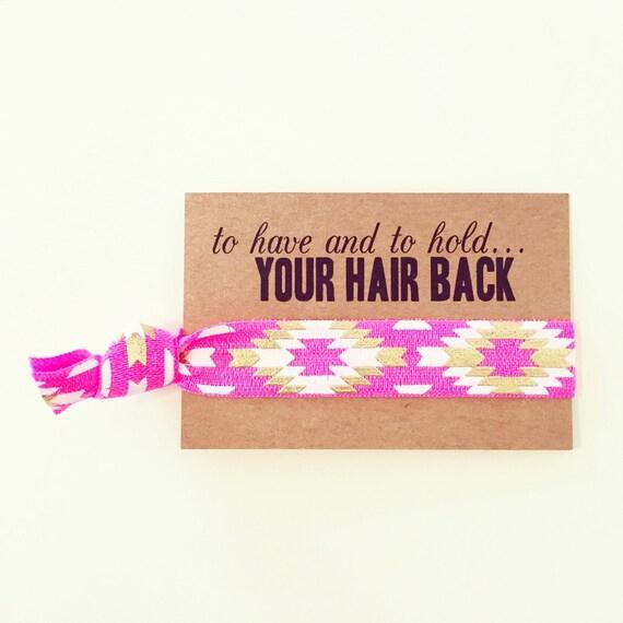 Neon Pink Bride Tribe Hair Tie Favors | Boho Bachelorette Hair Ties, Hot Pink + Gold Bachelorette Hair Tie Favor, Aztec Tribal Print Gold