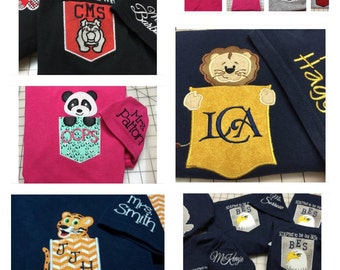 Custom School Spirit Wear Pocket T-shirts with Mascot