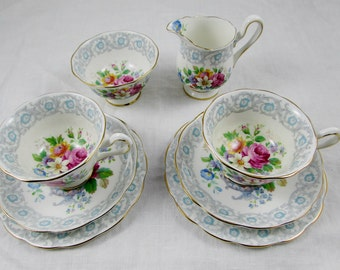 """Royal Albert """"Fragrance"""" Two Tea Cup and Saucer Trios with Matching Cream and Sugar Set, Tea for Two, Tea Party"""