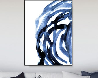 Large Canvas Wall Art, Large Art Prints, Brush Prints, Printable Abstract, Navy Blue Painting, A0 art Minimalist Art, Brush Stroke Print, D