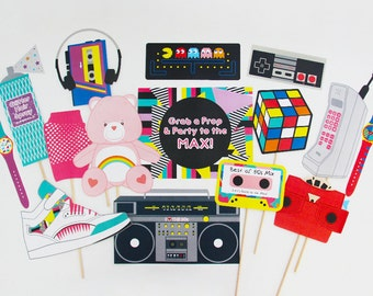80s Photo Booth Props Printable, 80s Props, Eighties party decorations   INSTANT DOWNLOAD