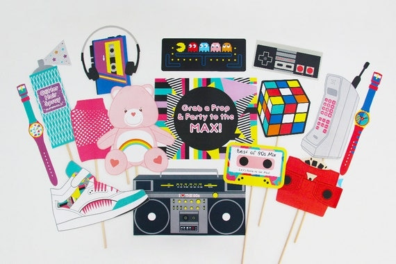80s photo booth props printable 80s props eighties party for 90 s party decoration ideas