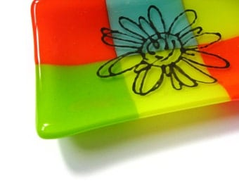 Bright multi colour ring dish, fused glass soap dish, fun kitchen side dish house warming, best friend gift, DH115, candle holder, bathroom