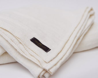 True Linen White Huckaback Bath Towel