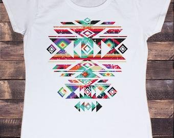 Women's White T-Shirt With Aztec/Pattern Motif Tribal Print TSA01