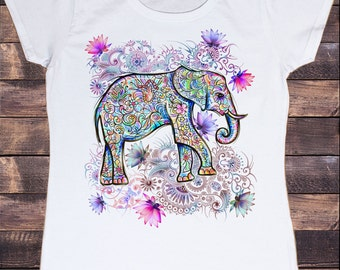 Women's White T-shirt Ethnic Elephant with Lotus Floral Print 30-19