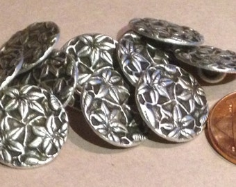 "Lot of 12 Silver Tone Metal Buttons Flower Floral 9/16"" 15mm # 7434"