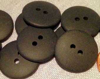 "12 Matte Very Dark Muted Green Sew-through Plastic Buttons 3/4"" 19mm # 7625"