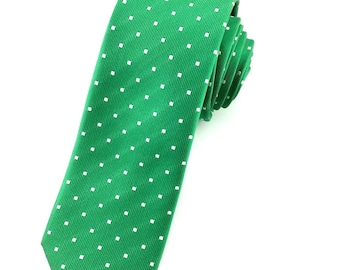 Forest GreenTie & White Polka dot Pattern tie 6.5 cm skinny tie. Slim Tie. Narrow Thin Tie. Skinny Tie. Formal Necktie.Green tie. Skinny tie
