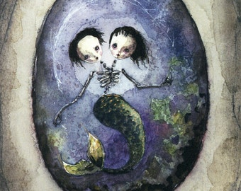 Skeletal Mermaid Conjoined Twins (print of an original painting by Sophia Rapata)