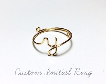 Custom Initial ring letter ring/gold initial/silver initial/knuckle ring/stacking ring/name ring/personalized wedding gift/bridesmaid gift