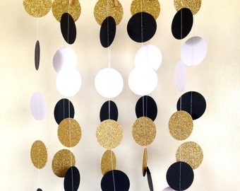 Great Gatsby Garland, 1920's Paper Garland, Black White Gold Bridal Garland, Great Gatby Party, Birthday Party Garland, Gold Garland