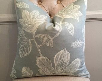 Handmade Decorative Pillow Cover - Robert Allen Bouquet Bay Seaspray - Grey - Gray - White