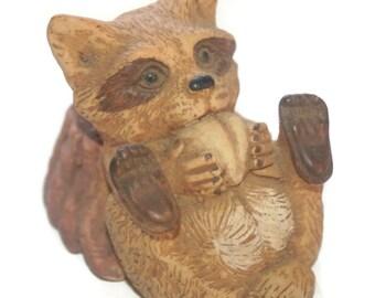 Vintage Cute Raccoon Figurine, Rustic Decor, Cabin Decor