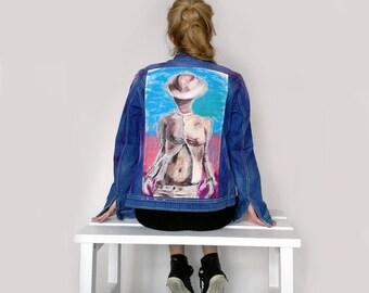 Handpainted Denim Jacket -women's denim jacket