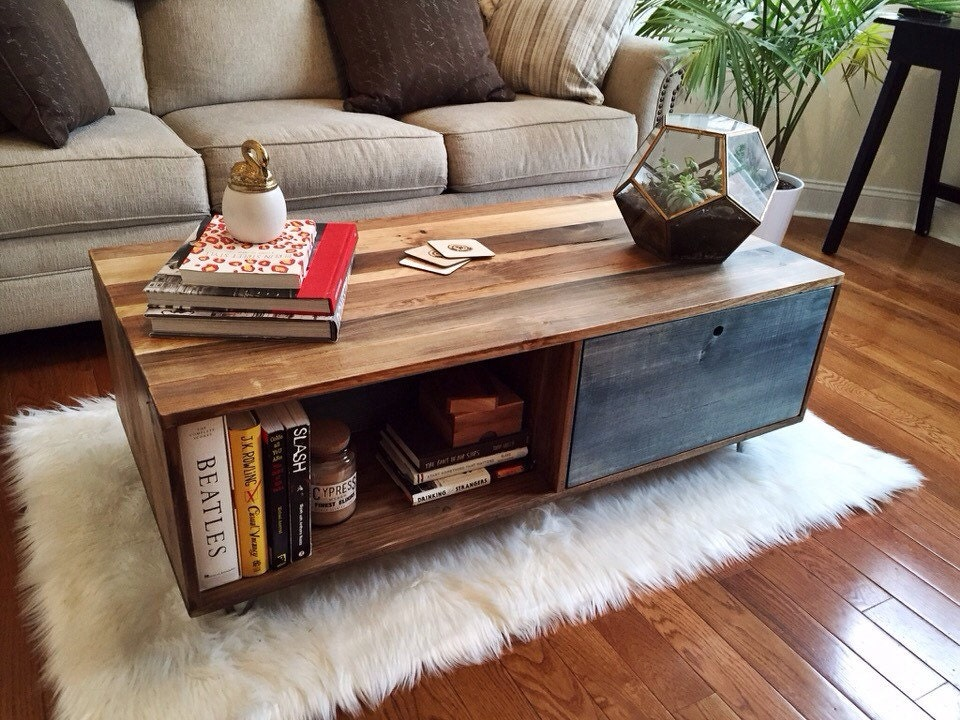 Reclaimed Style Coffee Table W Colored Multi Purpose Storage