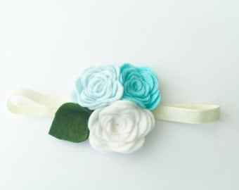 felt flower clip, flower alligator clip, flower hair accessory, felt flower headband, white, aqua blue, baby blue