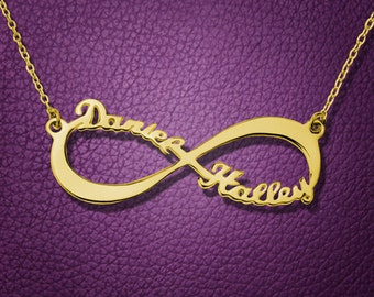 Gold Infinity Necklace,Infinity Name Necklace,Personalized Infinity Necklace,Gold Name Necklace,Custom Necklace,Christmas Gift N060