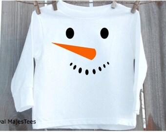 Snowman shirt, Long Sleeve kids winter, Toddler
