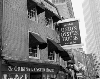 Boston Photography, Black and White, Union Oyster House, Restaurant, Boston Photo, Landmark, Fine Art Print, Wall Art, Home Decor