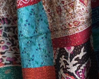 Indian Silk kantha stoles,Silk Scarf, Stole,Silk patchwork Long Scarf ,Shawl Sarong, Beach Wrap, Indian Cotton Silk Stole/ scarf, Light weig