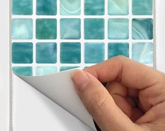 Wall Tile Decals Vinyl Sticker WATERPROOF Tile or Wallpaper for Kitchen Bath :  Mosaic MS011