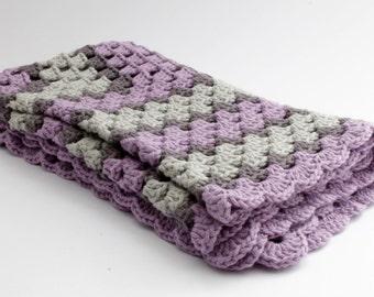 crochet Baby blanket // Granny Square // Gray Purple // Baby Girl // Baby Boy