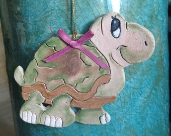 Turtle Christmas Ornament Delta Zeta ornament DZ ornament turtle ornament stoneware ornament handcrafted ornament