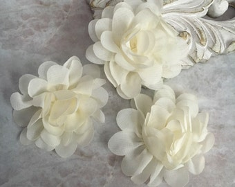 MINI ivory chiffon flower, chiffon flower, flower puff, material flower, headband flower, DIY supplies, fabric flower,