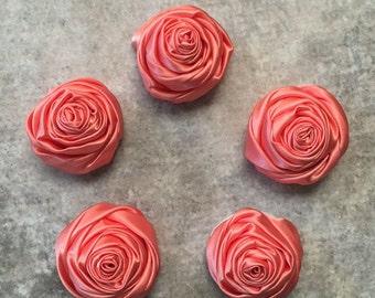 2 inch coral rosette, orange satin flowers, headband supplies, roses, headband flowers, wedding flowers, silk flowers, rolled flowers