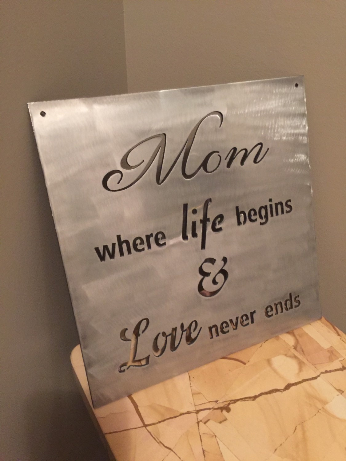 mom where life begins love never ends metal quote sign inspirational wall decor steel gift sale: iron wall decor u love