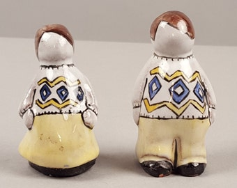Sweet Pair of Vintage Silverton Mountain Pottery Colorado Glazed Figures, Faceless Boy and Girl, Man and Woman, Franz Kriwanek, Paper Label