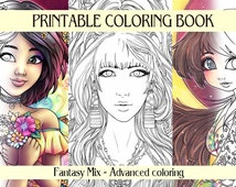 DIGITAL Adult Coloring book 20 designs Fantasy line art beautiful woman, fairies, angels, coloring pages collection art by sakuems
