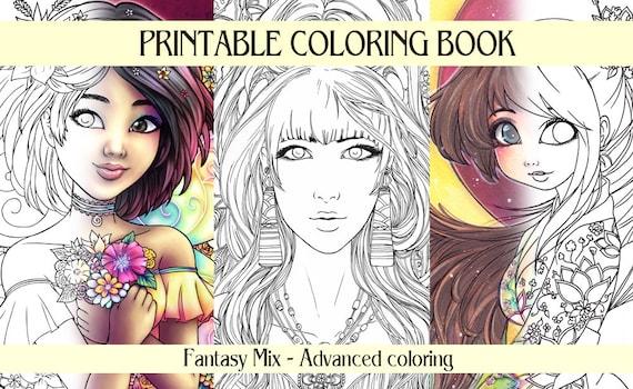 DIGITAL Adult Coloring Book 20 Designs Fantasy Line Art