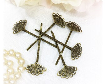 6 Pc. Antique Bronze Hair Clips, Bobby Pins, Barrette, Vintage Accessory For Weddings, Dress up, Bridal Showers, Tea time #A119