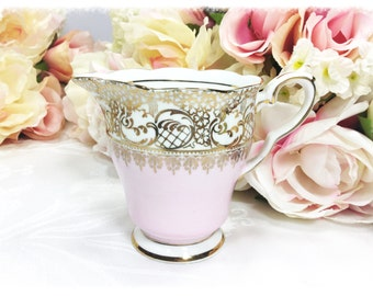 English Royal Stafford Creamer, Pink & Gold Filigree Fine Bone China English Creamer for Tea Set, Tea Party, Wedding. England #A140
