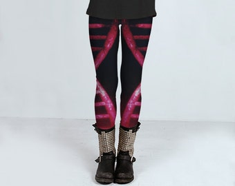 DNA  Leggings    Genetics Science Cell Biology Pink Black Wearable Art-Women-Pants-Clothes-Fashion-Clothing-Clothes- Hand Sewn  XS S M L XL